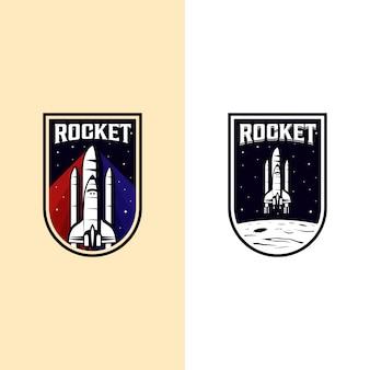 Illustrazione d'annata del distintivo di logo della navetta spaziale del razzo