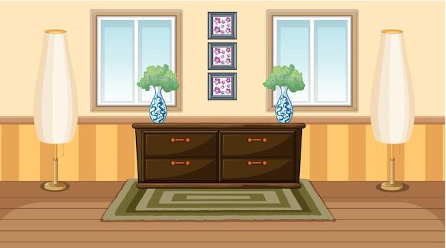 Interior design vintage della stanza con cabunet in legno e lampade da terra