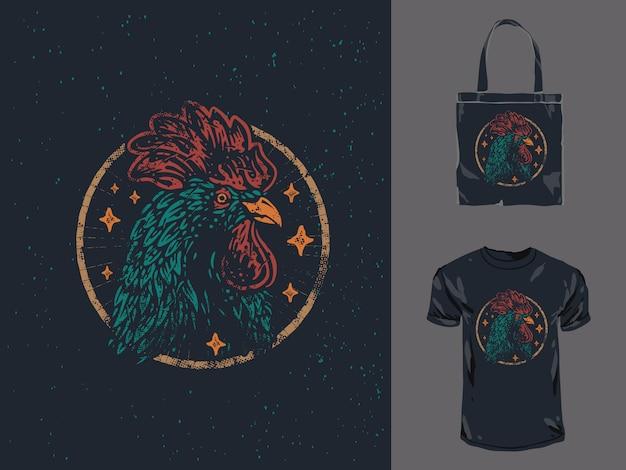 Illustrazione di design di abbigliamento vintage testa di gallo