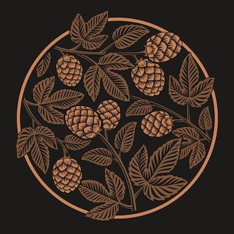 Vintage round hop pattern, design per il tema della birra sullo sfondo scuro