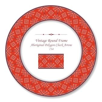 Vintage round retro frame poligono aborigeno controllare la geometria della freccia, stile antico