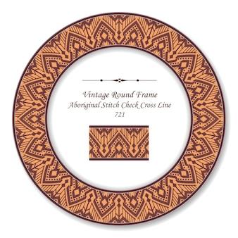 Vintage round retro frame aboriginal red stitch check cross line, antique style