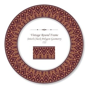 Vintage round retro frame aborigeno rosso punto controllare la linea della geometria del poligono, stile antico