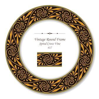 Vintage round retro frame of aboriginal spiral cross vine