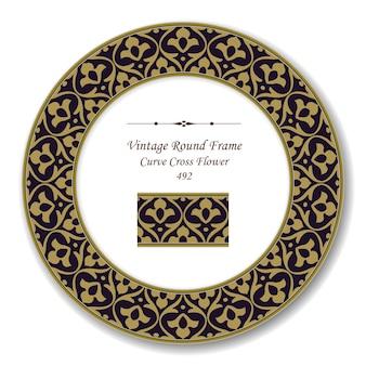 Vintage round retro frame di brown curve cross flower