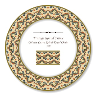 Vintage round retro frame chinese curve spiral royal geometry chain