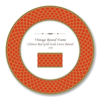 Vintage round retro frame chinese red gold scale curve round line