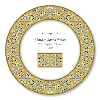 Cornice rotonda vintage retrò di fiore rotondo croce