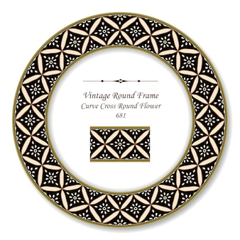 Vintage round retro frame curva croce fiore rotondo, stile antico
