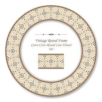 Vintage round retro frame curva croce rotonda linea fiore, stile antico