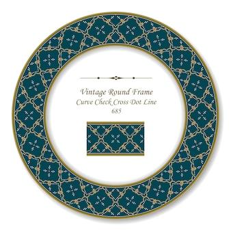 Vintage round retro frame curva a spirale check croce linea di punti, stile antico