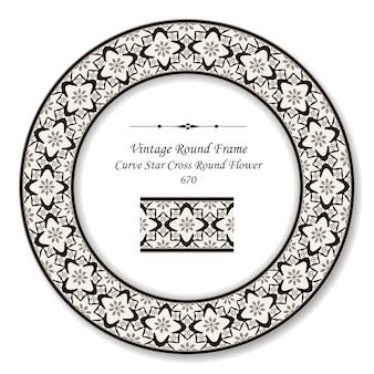 Vintage round retro frame curva stella croce fiore rotondo, stile antico