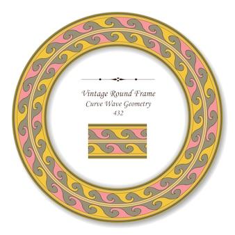 Cornice rotonda vintage retrò della geometria dell'onda curva