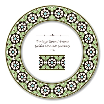 Vintage round retro frame of islamic golden line green star geometry