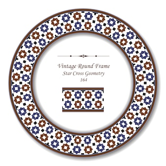 Vintage round retro frame of islamic star cross geometry