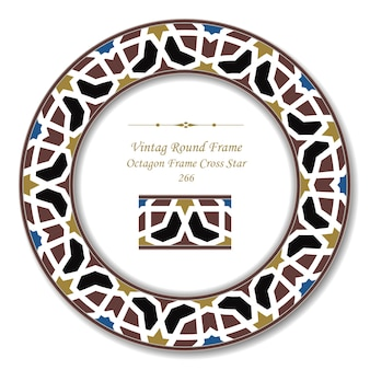 Vintage round retro frame of octagon frame cross star