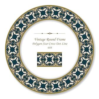 Vintage round retro frame poligono stella croce punto linea, stile antico