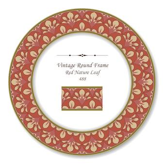 Vintage round retro frame di red nature leaf