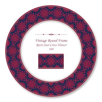 Vintage round retro frame red star croce fiore, stile antico