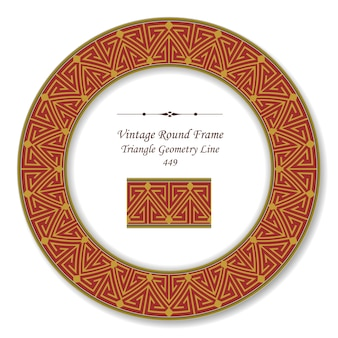 Vintage round retro frame of red triangle geometry line