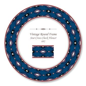 Vintage round retro frame stella croce check fiore, stile antico
