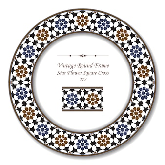 Vintage round retro frame of star flower square cross