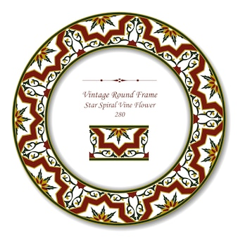 Vintage round retro frame of star spiral vine flower