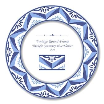 Vintage round retro frame of triangle geometry blue flower