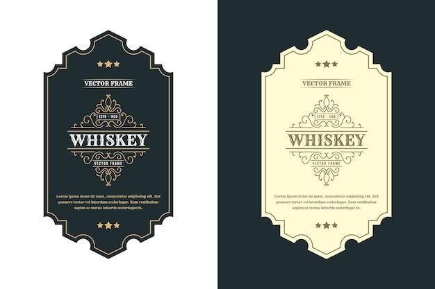 Etichetta con logo vintage royal luxury frames per etichette di bottiglie di birra, whisky, alcol e bevande