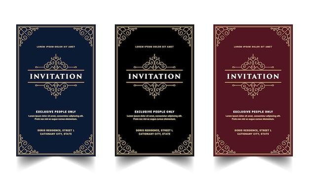 Set vintage reale e di lusso di carta di invito per modello di carta decorativa ornamentale di ricciolo floreale celebrazione festa di compleanno anniversario matrimonio