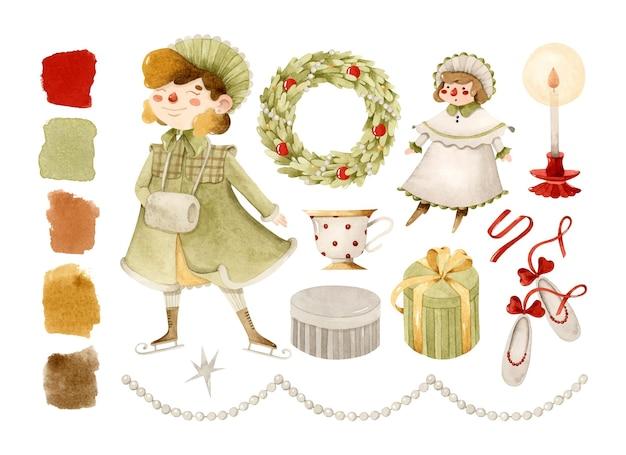 Vintage russian christmas girl ghirlanda bambola regali elementi acquerello set con tavolozza