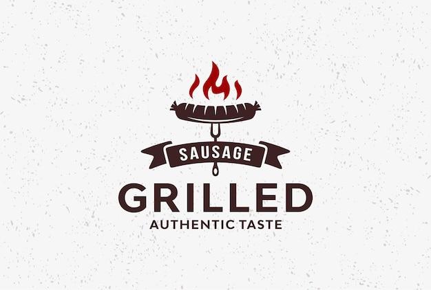 Ispirazione per il design del logo vintage salsiccia rustica.