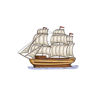 Nave a vela d'epoca con vele mentre - disegno isolato su superficie bianca
