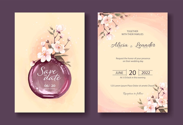 Invito a nozze vintage, fiori di sakura, salva il modello di scheda data.