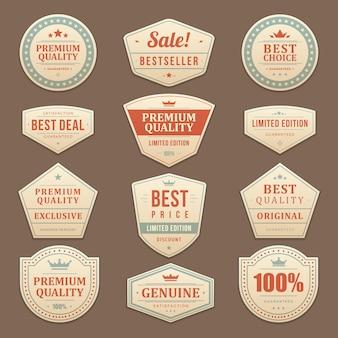 Set di etichette e adesivi pubblicitari di vendita vintage.