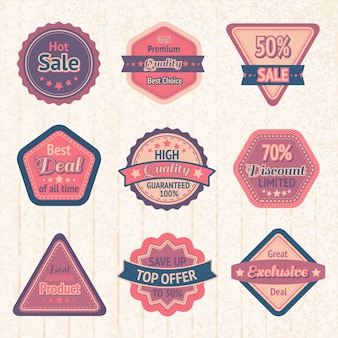 Etichette e badge di vendita vintage