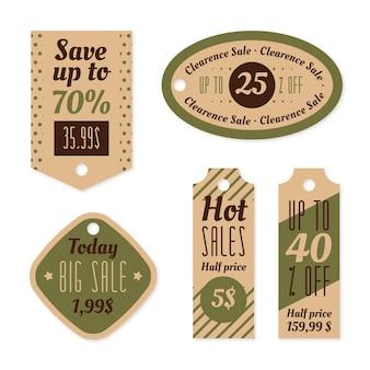 Collezione di tag di vendita vintage