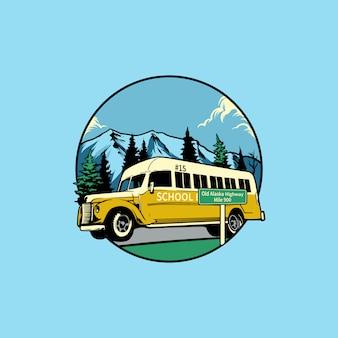 Illustrazione vettoriale vintage scuolabus