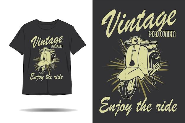 Scooter vintage goditi il design della maglietta della silhouette del giro