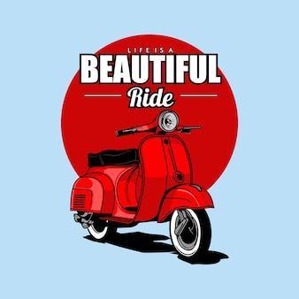 Illustrazione di scooter d'epoca