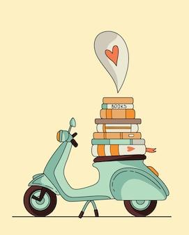 Disegno del manifesto di scooter d'epoca. scooter con libri