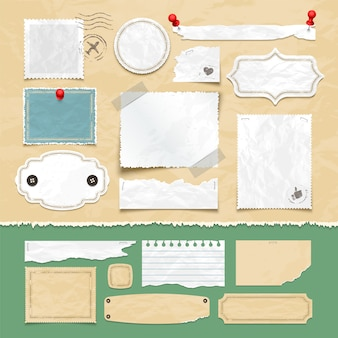 Elementi di vettore scrapbooking d'epoca. vecchi fogli di carta, cornici per foto ed etichette. illustrazione dell'album dell'annata della carta e dell'album