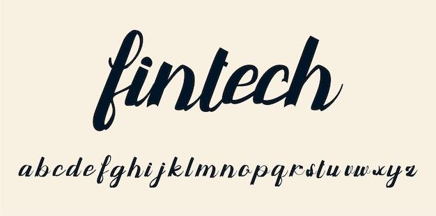 Carattere dell'alfabeto con script vintage
