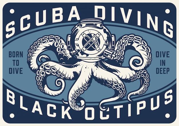 Manifesto orizzontale di immersioni subacquee dell'annata