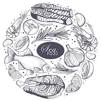 Illustrazione vettoriale di cornice di frutti di mare d'epoca