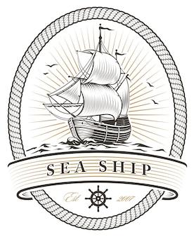 Emblema della nave del mare dell'annata su priorità bassa bianca.