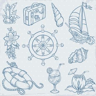 Elementi di doodle di viaggio di mare dell'annata