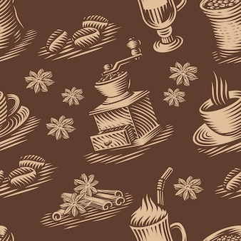 Uno sfondo vintage senza soluzione di continuità per un tema di caffè