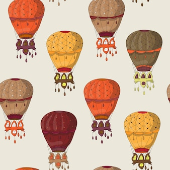 Modello senza cuciture vintage di mongolfiere per carta da parati, riempimenti a motivo, sfondo della pagina web