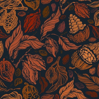 Modello vintage senza soluzione di continuità. texture autunno giardino. stampa grafica disegnata a mano.
